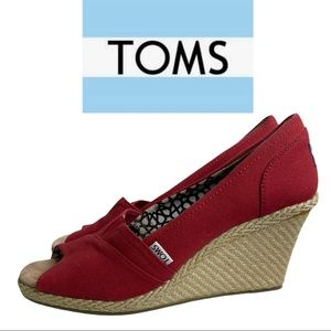 Toms Red Canvas Wedge Heels Open Toe Size 10